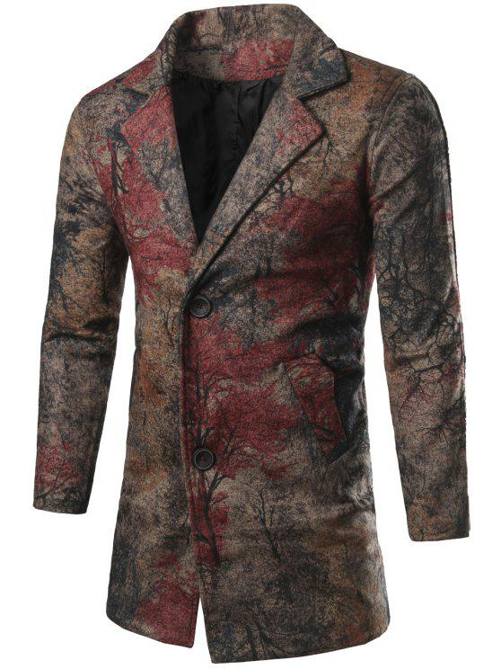 Manteau unique poitrine All-Over Imprimé - Multicolore L