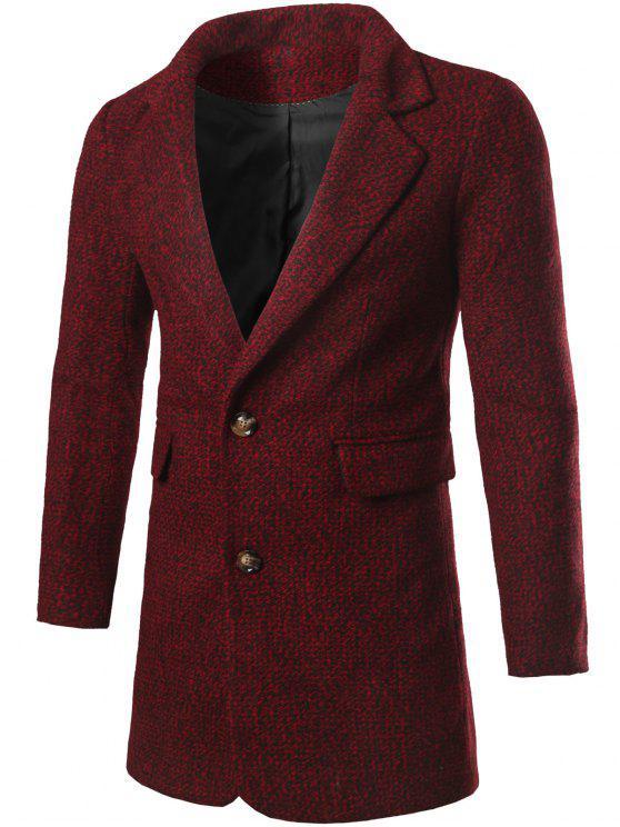 Abrigo de Tweed con Bolsillo con Solapa y Solo-Botón y Cuello Doblado - Vino Rojo M