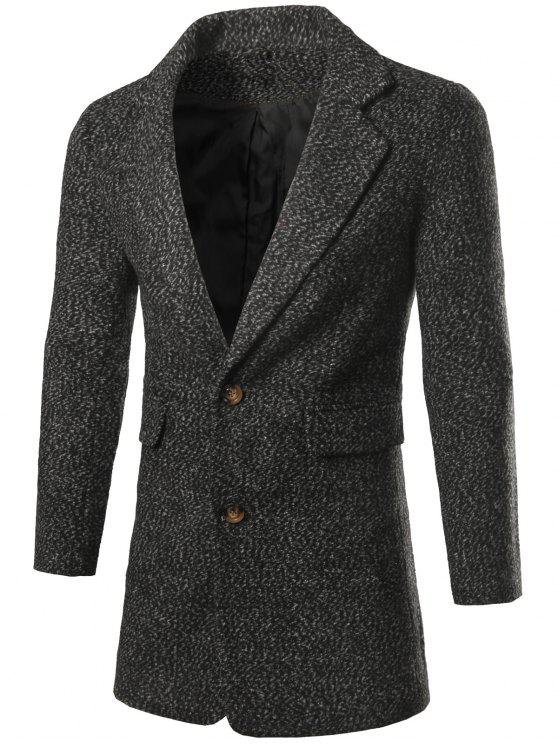 women Single Breasted Flap Pocket Tweed Coat - DEEP GRAY L