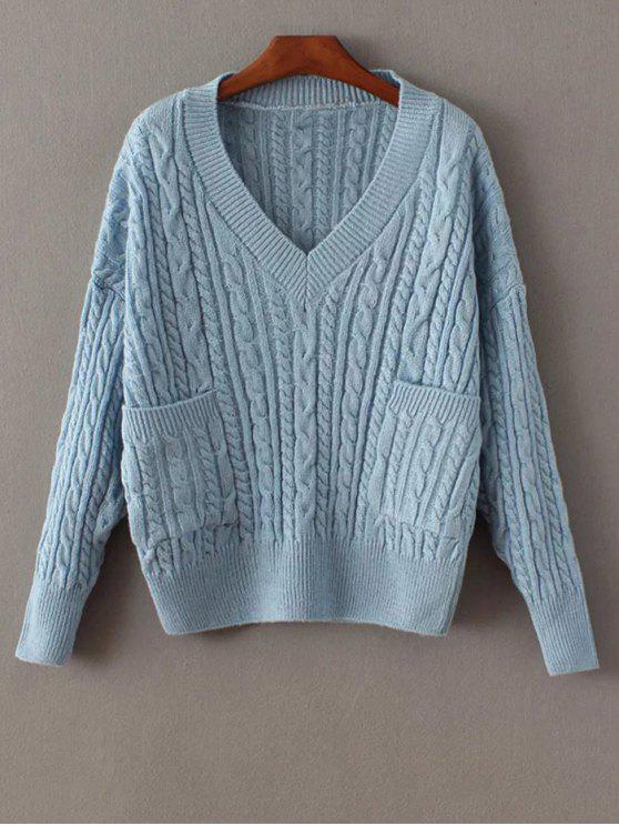 Pull en tricot avec poches - Bleu TAILLE MOYENNE