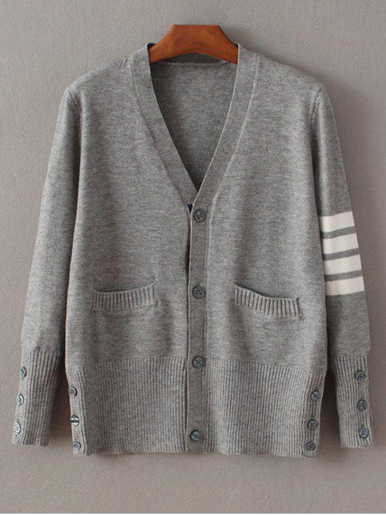 Fitting Striped Cardigan - Gray