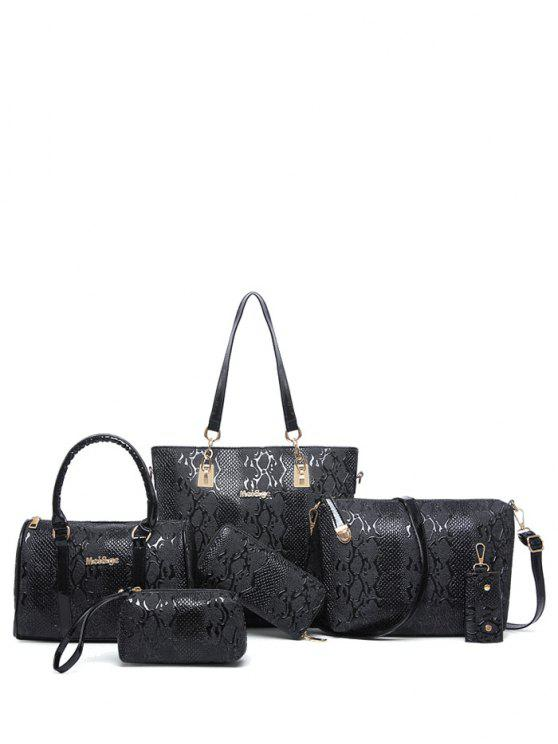 sale Embossed PU Leather Metals Shoulder Bag - BLACK