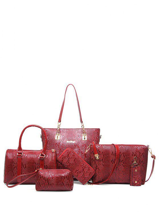 Bolsa de Metales de hombro de cuero de la PU en relieve - Vino Rojo