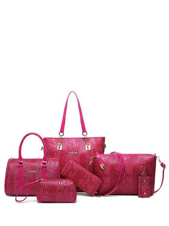 Bolsa de Metales de hombro de cuero de la PU en relieve - Rosa Roja