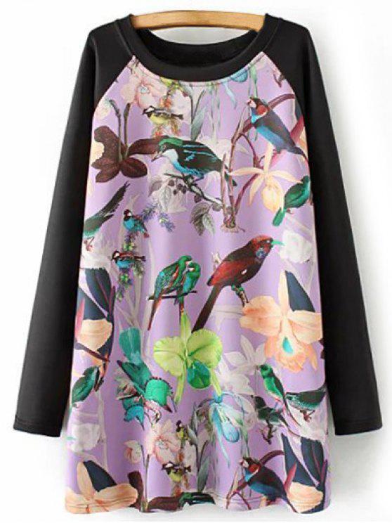 فستان طويلة راجلان الاكمام طباعة تونك - أرجواني 2XL
