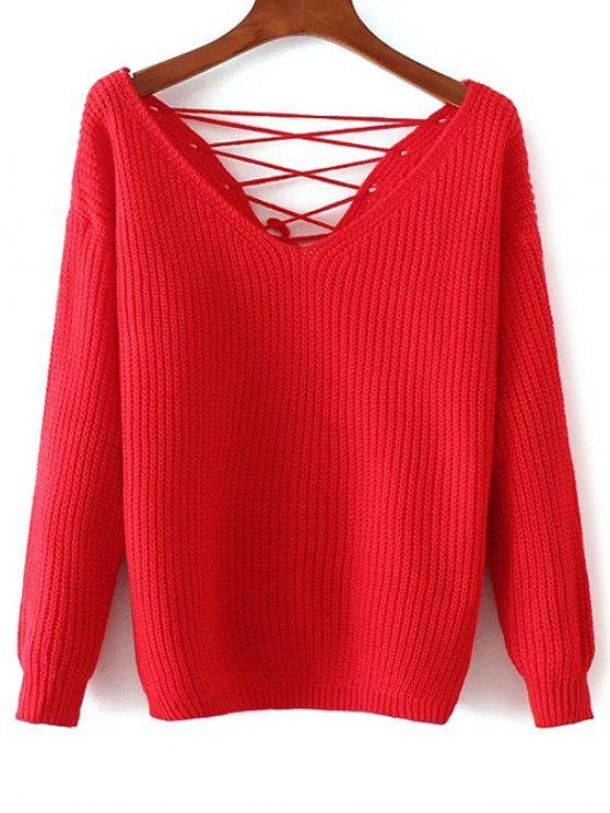 affordable Double-V Lace-Up Sweater - RED ONE SIZE