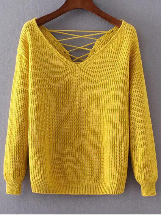 womens Double-V Lace-Up Sweater - MUSTARD ONE SIZE