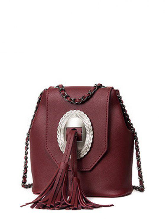 fancy Tassels Chain Snap Closure Crossbody Bag - WINE RED