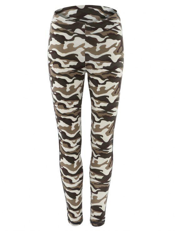 best Topstitched Camo Printed Leggings - CAMOUFLAGE S