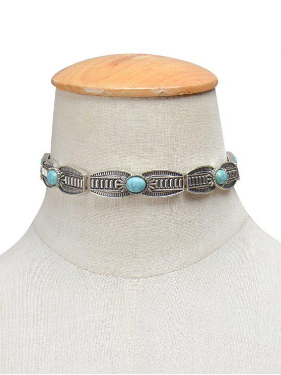sale Vintage Artificial Turquoise Engraved Necklace - SILVER