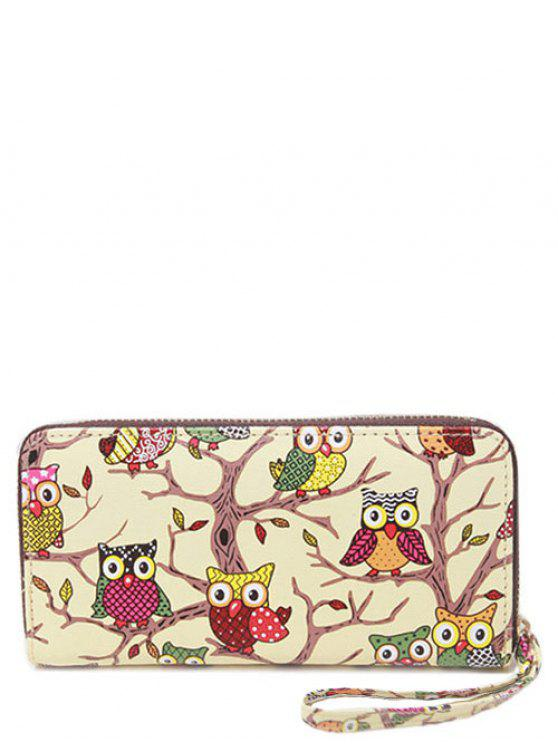 outfits PU Leather Owl Print Zip Around Wallet - BEIGE