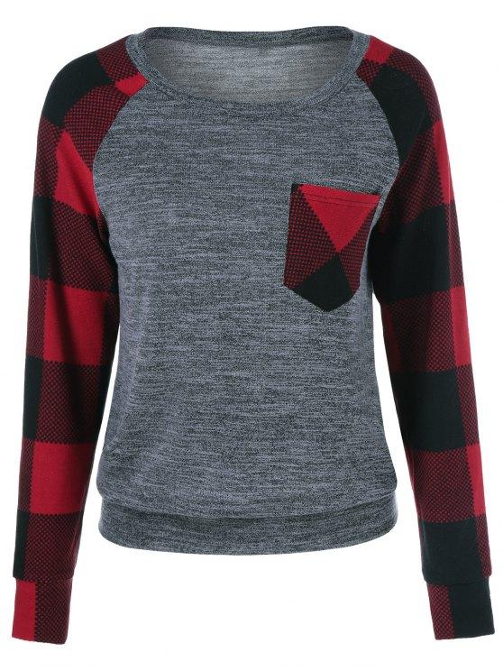 unique One Pocket Plaid Trim Sweatshirt - CHECKED XL