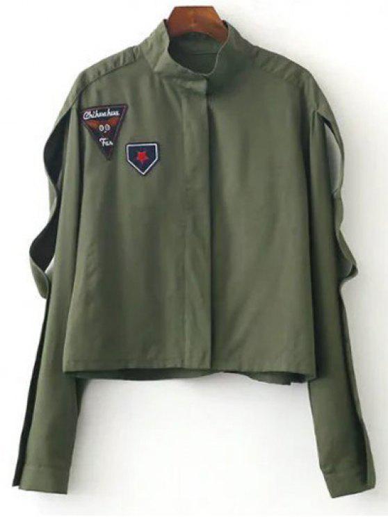 Embudo parcheado cuello de la chaqueta - Verde del ejército S