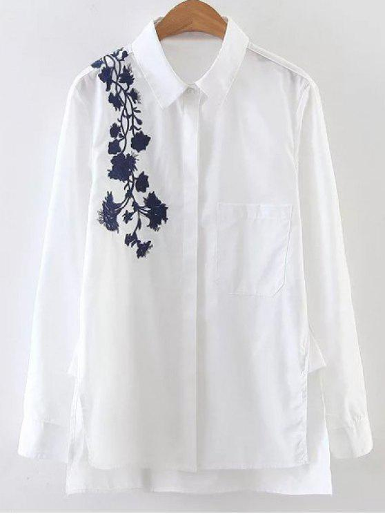 Hombro bordado Popelina Camisa - Blanco M
