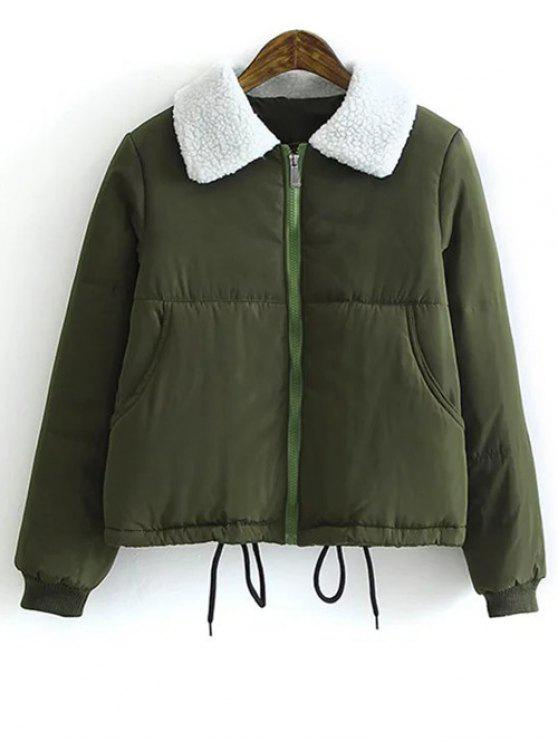 affordable Borg Collar Quilted Puffer Jacket - ARMY GREEN L