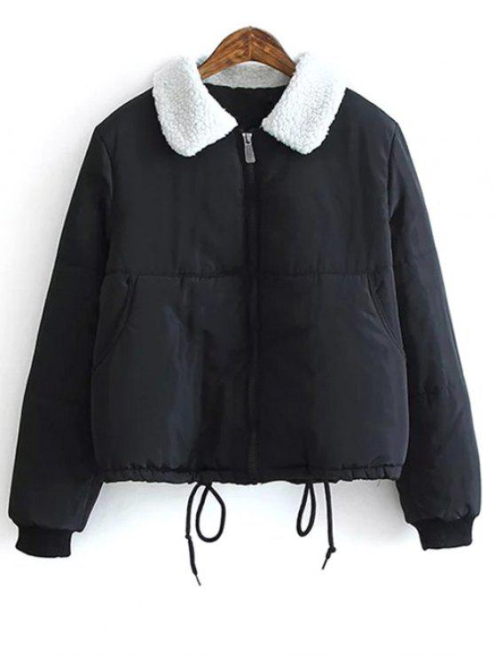 new Borg Collar Quilted Puffer Jacket - BLACK M