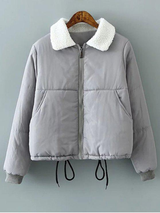 women Borg Collar Quilted Puffer Jacket - GRAY XL