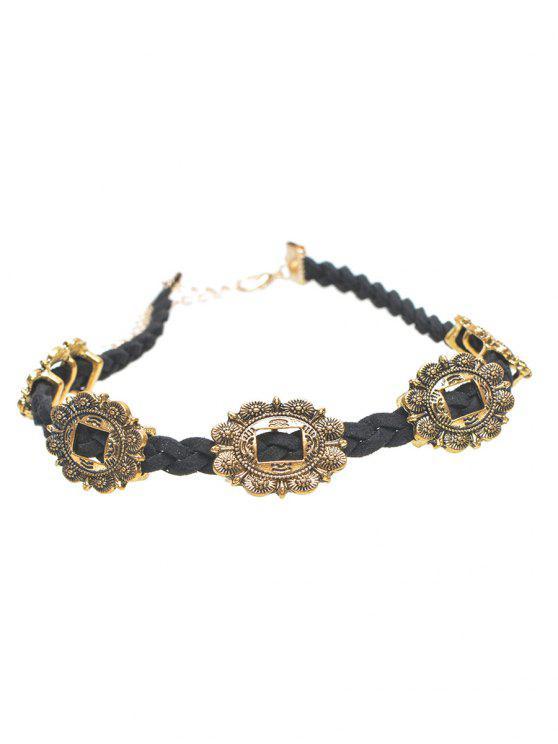 affordable Alloy Engraved Flower Braid Choker Necklace - GOLDEN