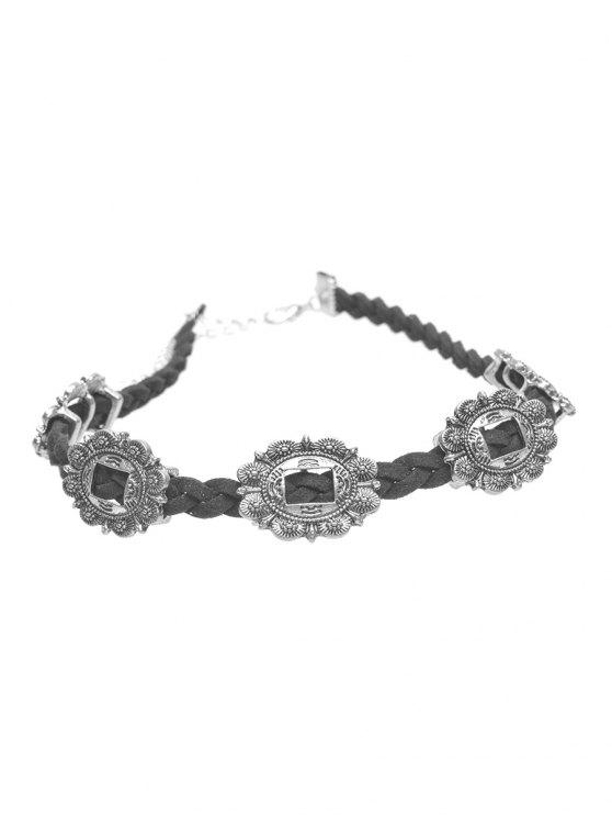 buy Alloy Engraved Flower Braid Choker Necklace - SILVER