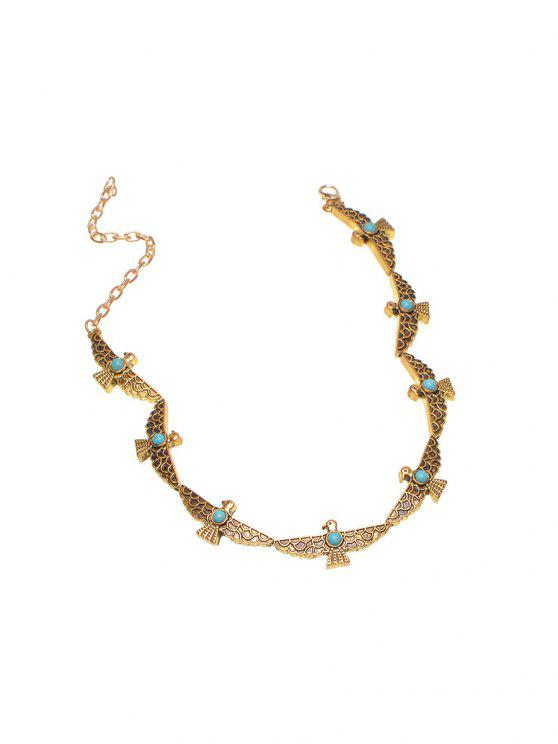 womens Faux Turquoise Peace Pigeon Choker - GOLDEN