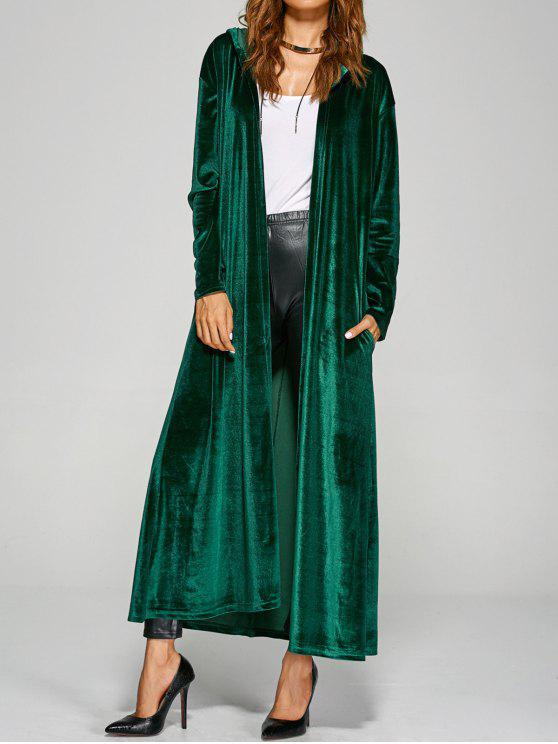 women's Hooded Velvet Long Coat - GREEN ONE SIZE