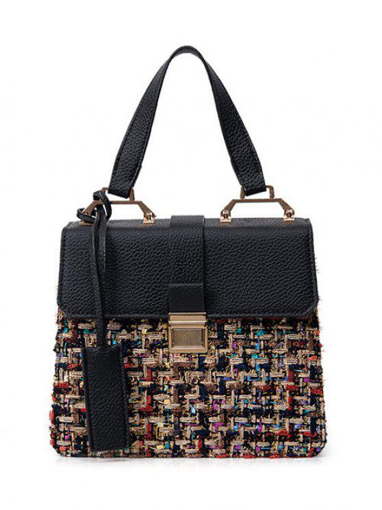 chic Metal PU Leather Spliced Tweed Handbag - COLORMIX