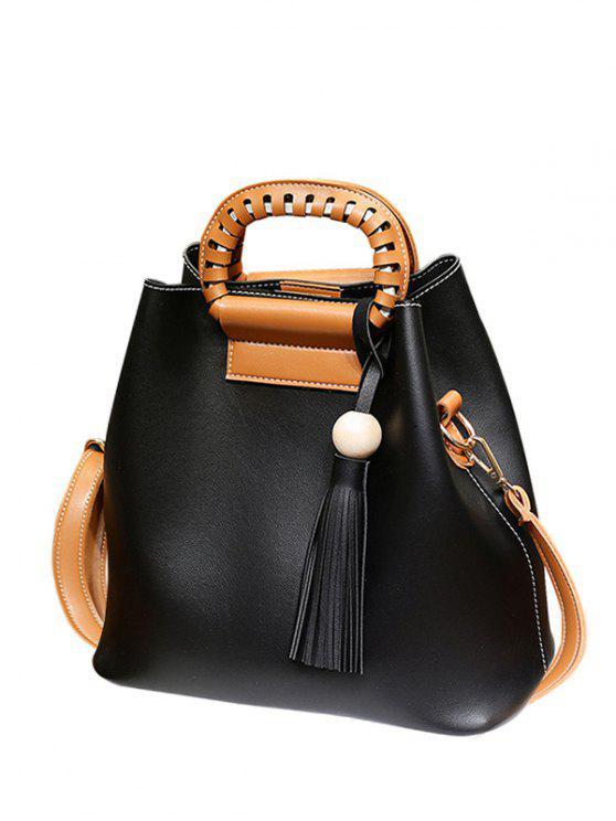 حقيبة اليد شرابة بجلد صناعي - أسود