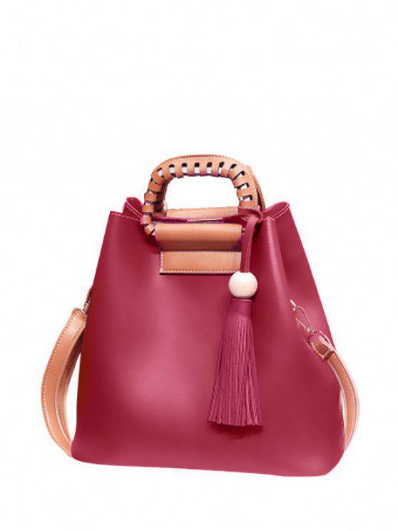 حقيبة اليد شرابة بجلد صناعي - نبيذ أحمر