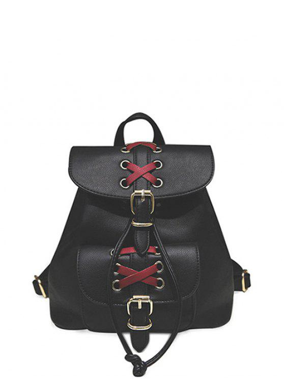 women Buckles Eyelet Criss-Cross PU Leather Backpack - BLACK