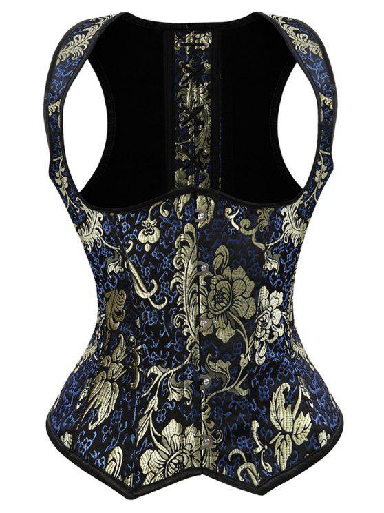 latest Vintage Jacquard Lace Up  Corset Vest - DEEP BLUE XL