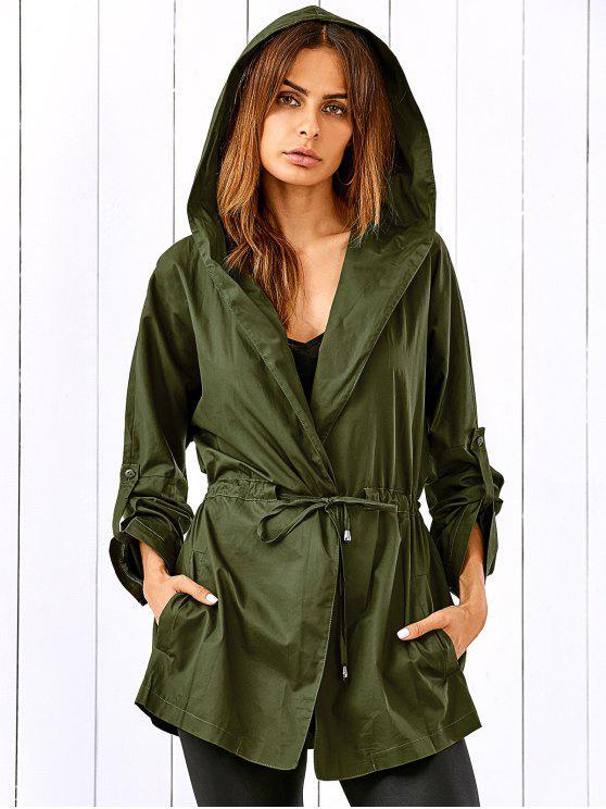 Drawstring Hooded Military Jacket ARMY GREEN: Jackets & Coats XL ...