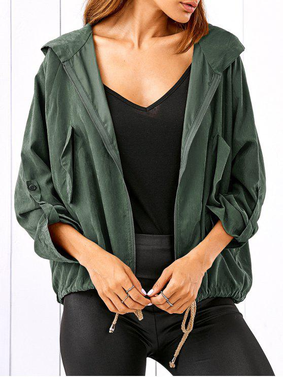 shops Drawstring Zippered Hooded Jacket - ARMY GREEN M