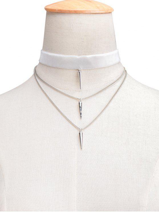 trendy Velvet Layered Rivet Choker - WHITE