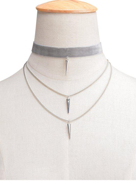 fashion Velvet Layered Rivet Choker - LIGHT GRAY