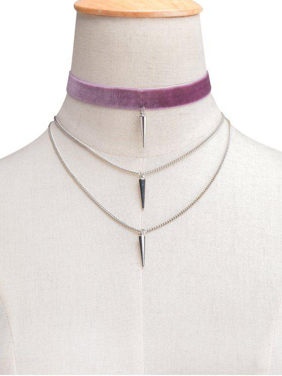 unique Velvet Layered Rivet Choker - HEATHER VIOLET