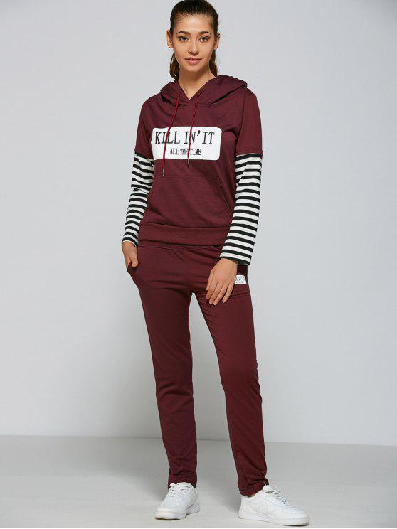 outfit Striped Sleeve Casual Hoodie and Pants - PURPLISH RED M