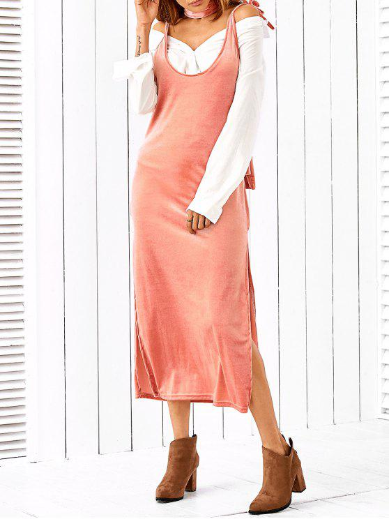 best Side Furcal Slip Dress With Scarf - PINK M
