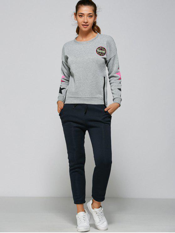 trendy Stars Side Zipper Sweatshirt and Pants - GRAY XL
