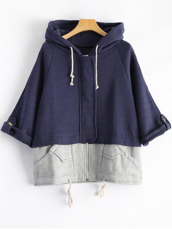 online Plus Size Spliced Zip Up Hoodie - DEEP BLUE 2XL