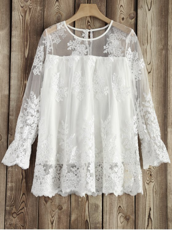 women See-Through Lace Round Neck Blouse - WHITE M