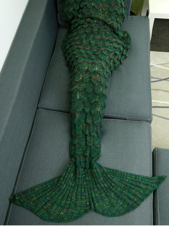 best Fish Scale Knit Mermaid Throw Blanket - GREEN