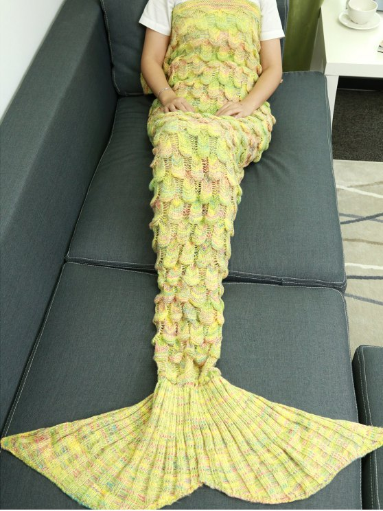 Da escala de peixes Knit Mermaid mantas decorativas - Amarelo