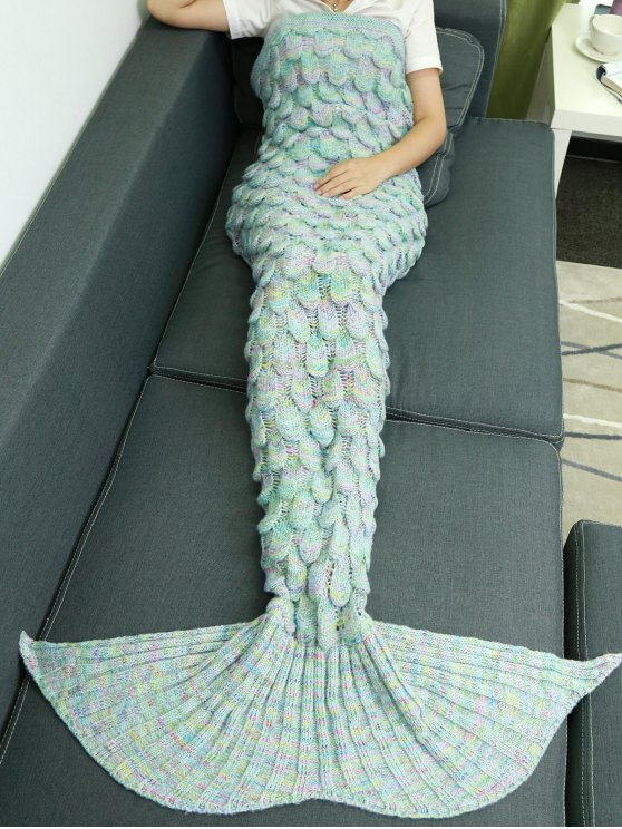 hot Fish Scale Knit Mermaid Throw Blanket - AZURE