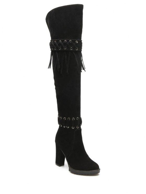 sale Fringe Criss-Cross Chunky Heel Thigh Boots - BLACK 39