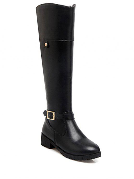 sale Buckle Chunky Heel Zipper Knee-High Boots - BLACK 37