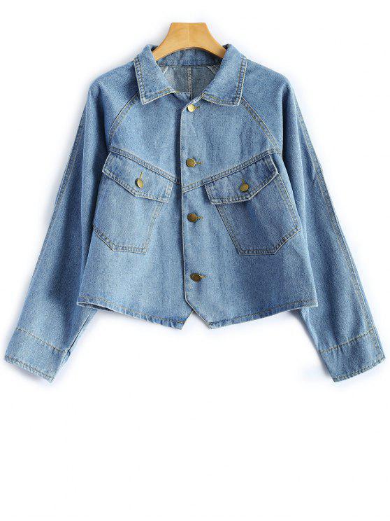 trendy Button Up Cropped Denim Jacket - LIGHT BLUE M