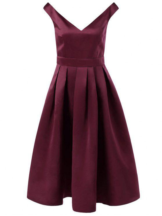 sale Low Cut Sleeveless Fit and Flare Dress - DARK RED M