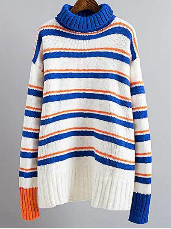 outfits Turtle Neck Striped Sweater - BLUE AND WHITE ONE SIZE