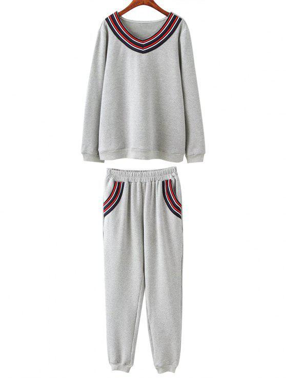 Ensemble en laine sweat et pantalon de grande taille - Gris 3XL
