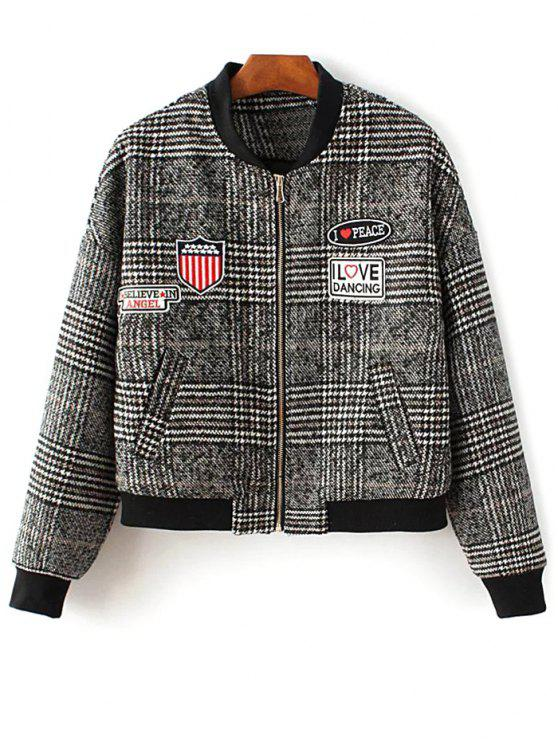 buy Houndstooth Letter Patched Jacket - COLORMIX L
